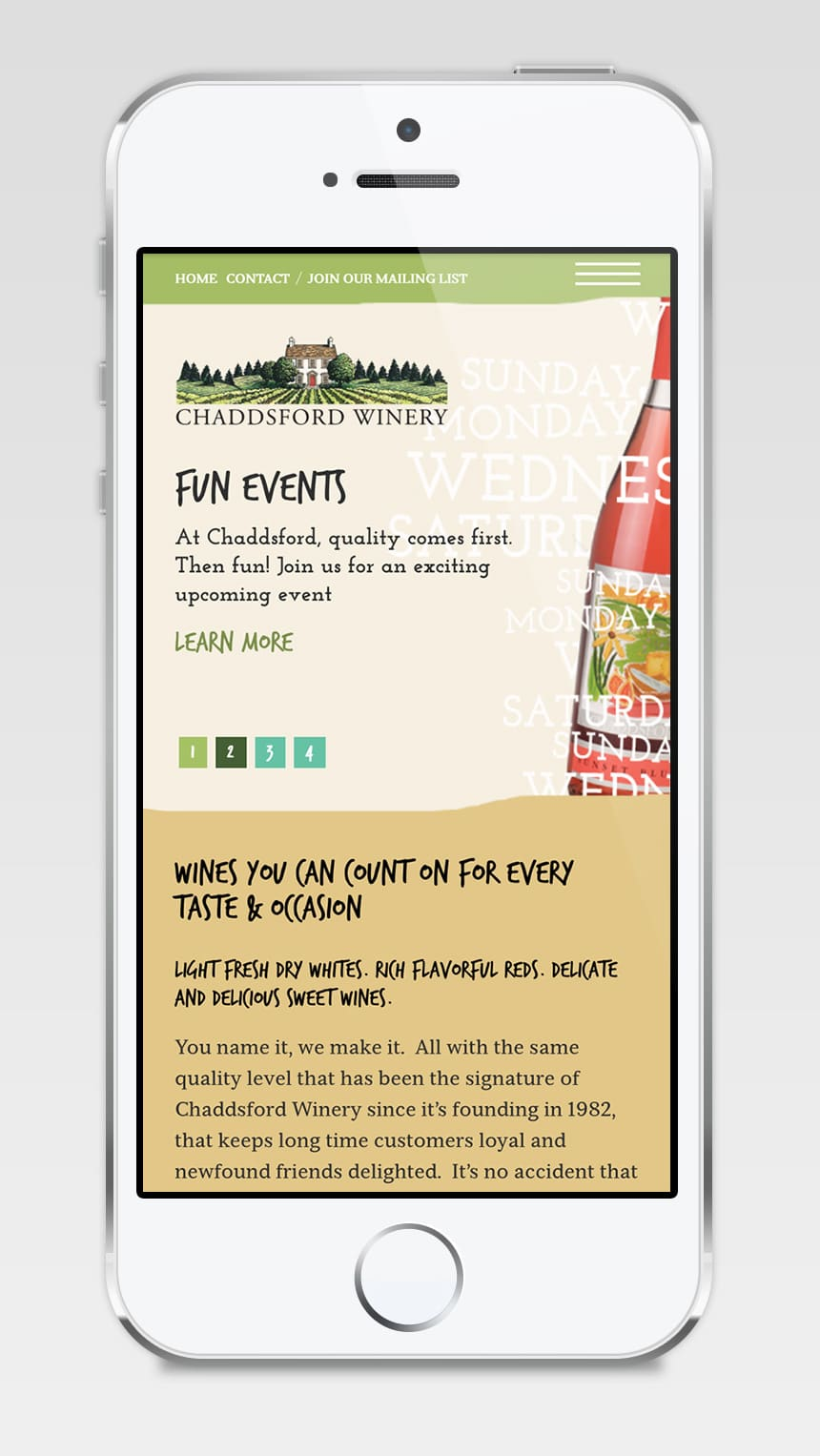 Chaddsford Winery Mobile Version